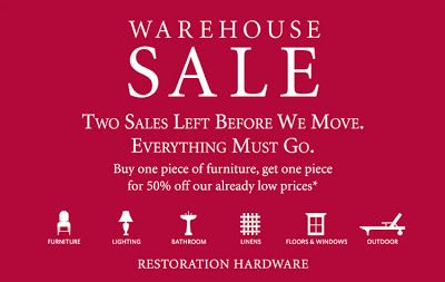 restoration hardware warehouse sale