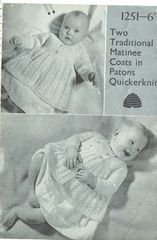 aa72868c3 Patons 1251 two designs baby matinee coat vintage knitting pattern ...