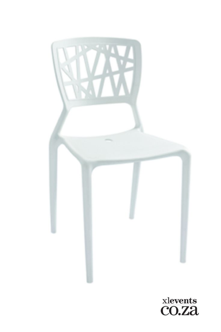 White Detailed Plastic Chair available for hire for your wedding, conference, party or event. Browse our selection of chairs and furniture in our online catelogue.