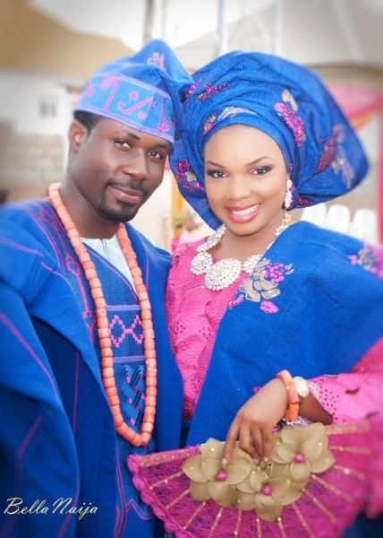 Royal Blue Aso Oke With Pink Lace Nigerian Traditional