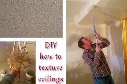 How to texture a ceiling (cheaply and easily) by yourself! Buy drywall mud for about $10, mix with water, roll it on like paint, and then stamp it with a special brush! DIY!