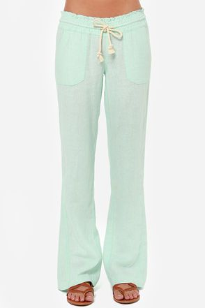 Roxy Ocean Side Mint Green Lounge Pants