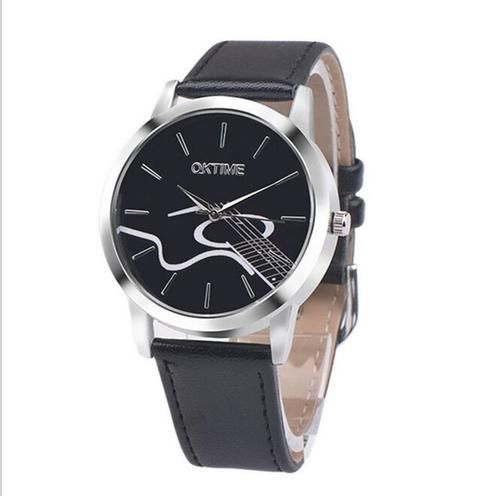 Wristwatch PU Leather Quartz Dress Watch Guitar Musical Notes Casual Watch For Men And Women
