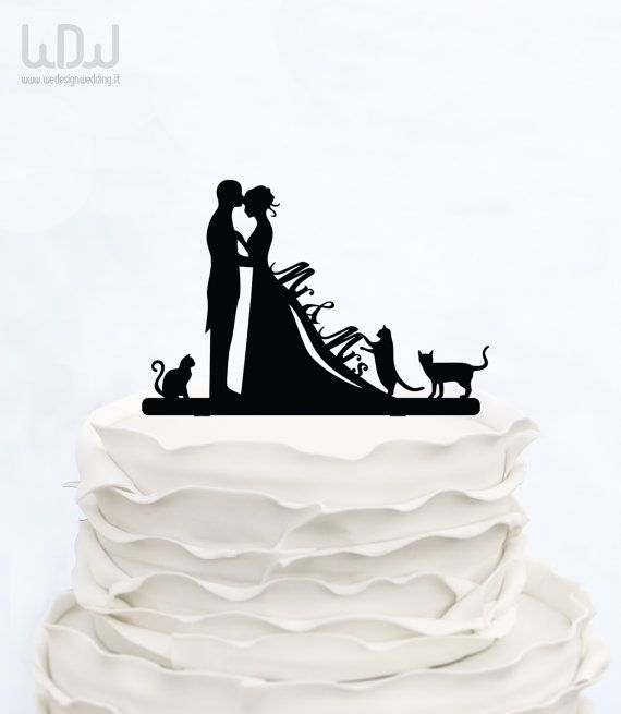 WEDDING CAKE TOPPER CAT_Cake Topper di WeDesignHandmade su Etsy