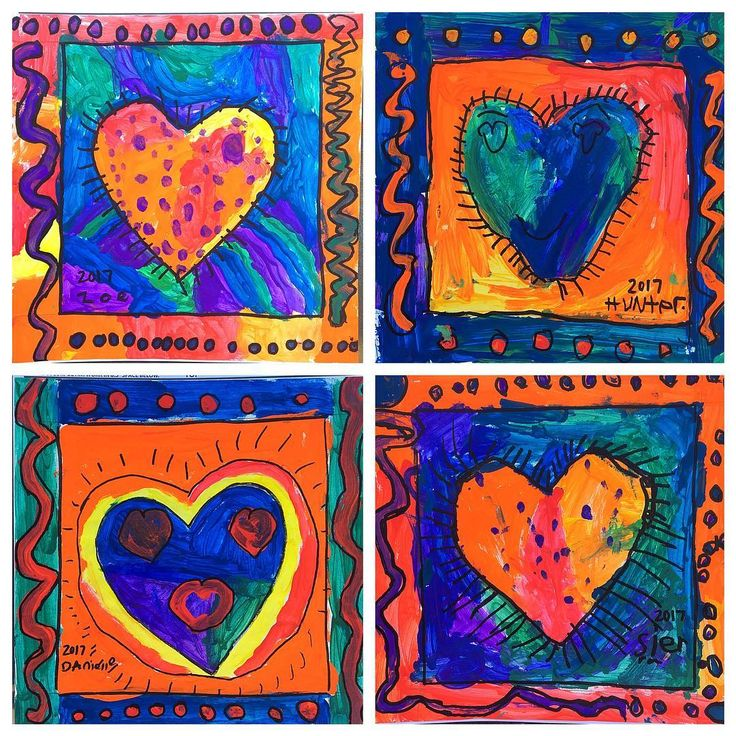 Loving these Peter Max & Jim Dine inspired hearts from my firsties! ❤️ #ArtAtAthaRoad #Square1Art