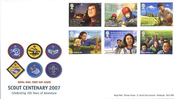 Royal Mail first day cover for the Centenary of Scouting stamps 26 July 2007.