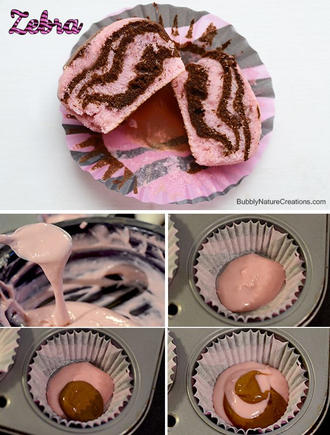Animal Print Cupcakes! {Leopard and Zebra Cake} It calls for using white cake mix and red food coloring and cocoa, but I think it'd be tasty to use strawberry cake mix and chocolate mix!