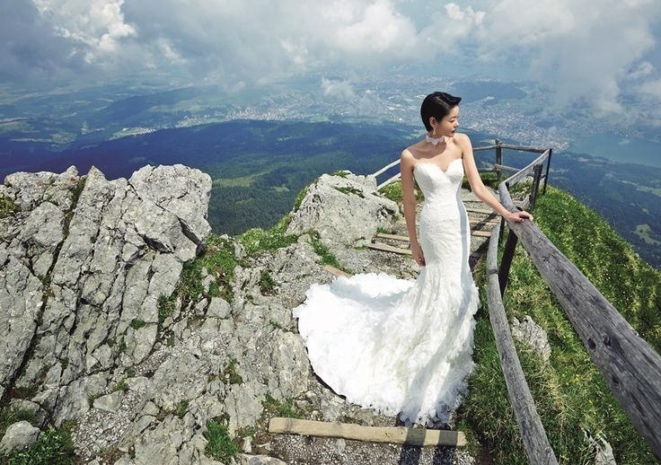 Beautiful bride with breathtaking view | Inspiring post by Bridestory.com, everyone should read about Model-actress Sheila Sim does her first bridal shoot in Lucerne, Switzerland on http://www.bridestory.com.sg/blog/model-actress-sheila-sim-does-her-first-bridal-shoot-in-lucerne-switzerland