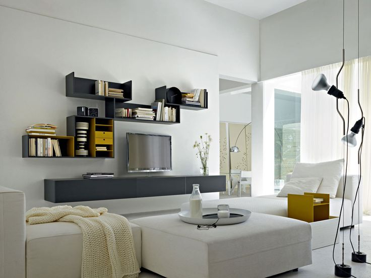 Módulo de arrumação de parede secional montada na parede com suporte para TV Coleção Fortepiano by MOLTENI
