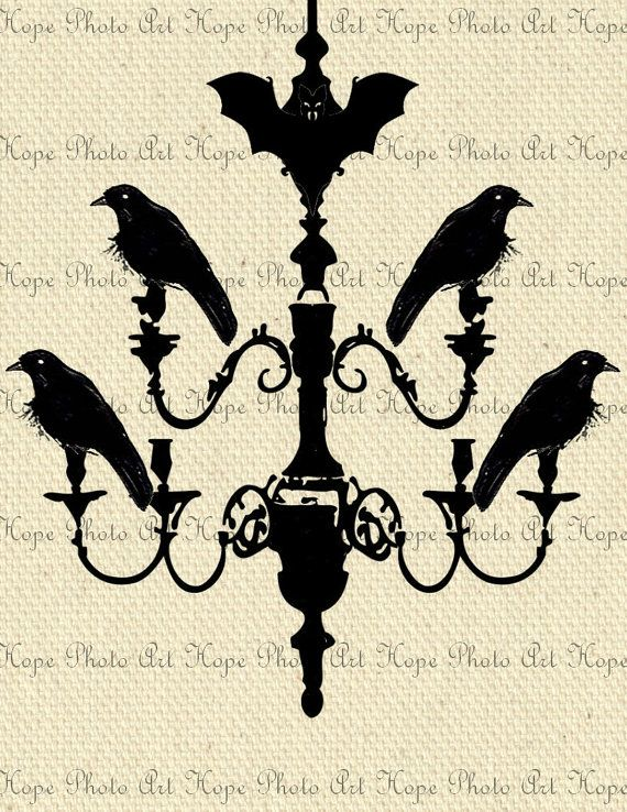 Halloween Chandelier of Crows 8.5x11 Image Transfer - Burlap Feed Sacks Canvas Pillows Towels greeting cards - U Print 300dpi jpg sh220. $1.25, via Etsy.