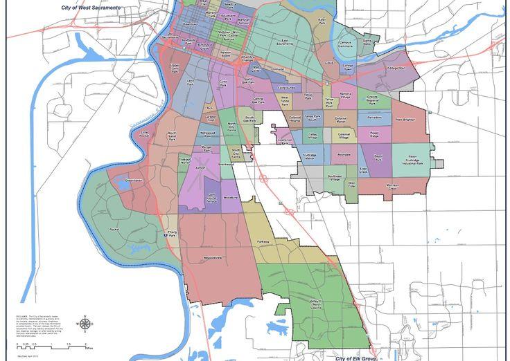 City of Sacramento CA neighborhood map part 2 Sacramento