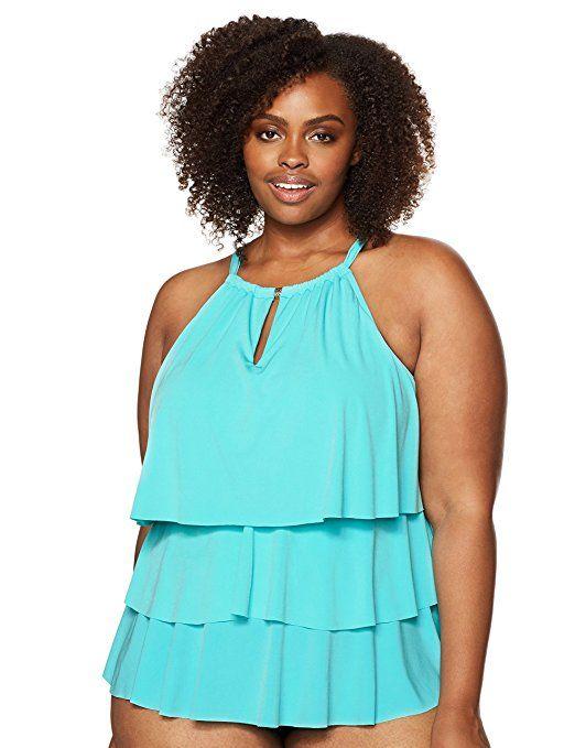 ae2745bdac Amazon.com: Coastal Blue Women's Plus Size Control Swimwear 3 Tiered Ruffle  Tankini Top: Clothing