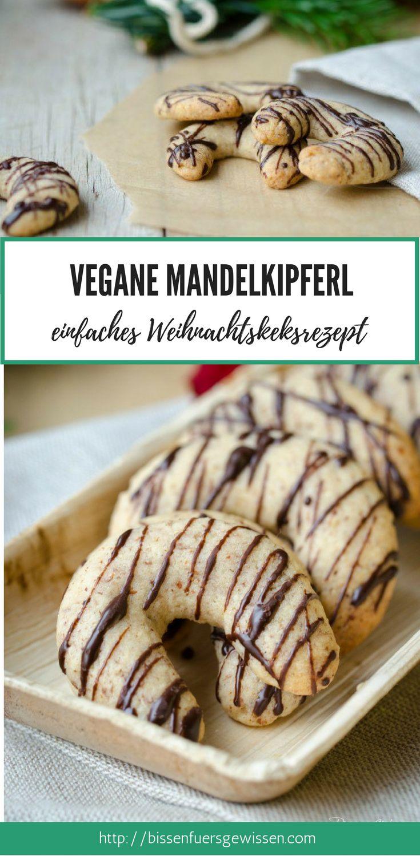 Vegane Mandelkipferl – ein einfaches Rezept für Weihnachtskekse. #vegan #weihna…