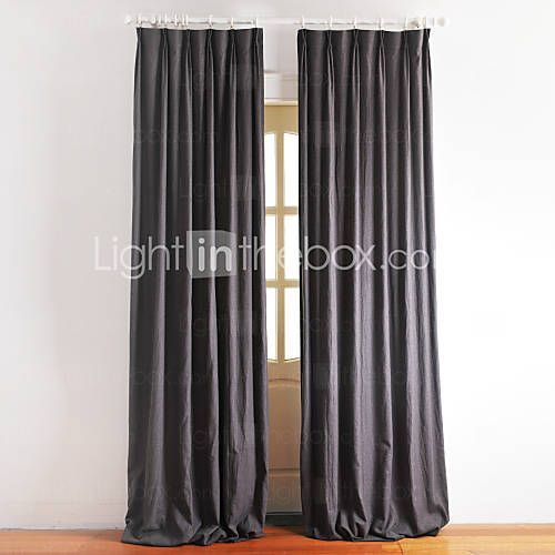 [USD $ 189.99] (One Pair) Traditional Dark Grey Lined Curtain