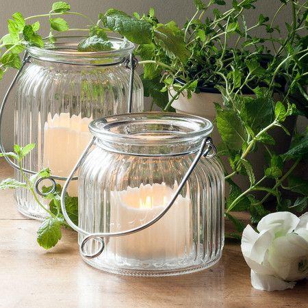 Small Glass Jar LED Candle Lantern