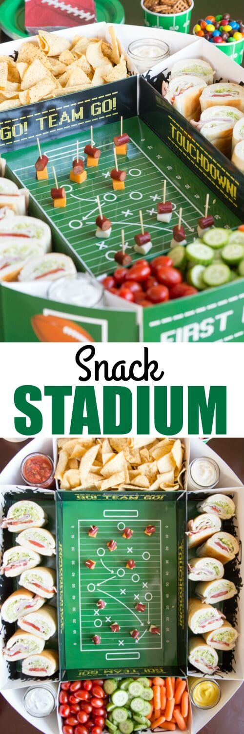 Elevate your Game Day entertaining with an epic Snack Stadium! Use a store-bought stadium kit so you can focus on the most important part: THE SNACKS!