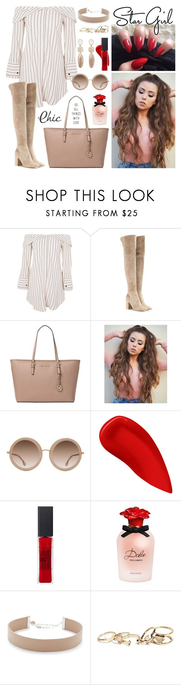 """""""shirt dress #130"""" by jk802 ❤ liked on Polyvore featuring Topshop, Gianvito Rossi, Michael Kors, Alice + Olivia, Lipstick Queen, Maybelline, Dolce&Gabbana, Jennifer Zeuner and GUESS"""