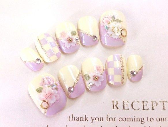 市松模様♡和柄の桜とラベンダー色のネイルチップ 振袖・お着物にも♪◆775