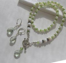 925 zilver Prasioliet groene Amethist Peridoot Parelmoer ketting en oorbellen choker collier hart