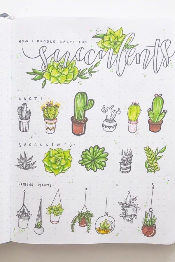 25 Best Succulent Cactus Doodle Ideas For Bujo Addicts Crazy Laura Cactus Doodle Plant Doodle Doodles