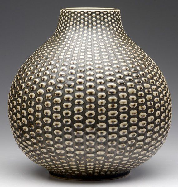 "Axel Salto (Danish, 1889-1961), Royal Copenhagen , Glaze Decorated Stoneware ""Budding"" Vase."