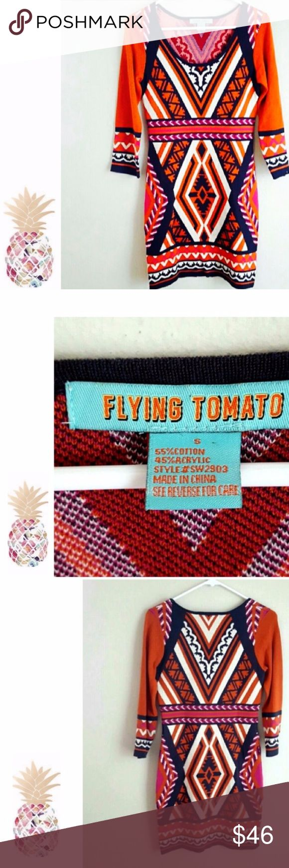 Flying Tomato Sweater Dress, Sz. Small, Aztec Prin Gently worn and in Excellent Condition!! Great Dress for this Fall/Winter Season. Size:  Small Casual Dress Polyester knit  Aztec pattern Knee-Length 3/4 Sleeves Multi-Color: Orange, Gray, Cream and Fuchsia Flying Tomato Dresses Mini