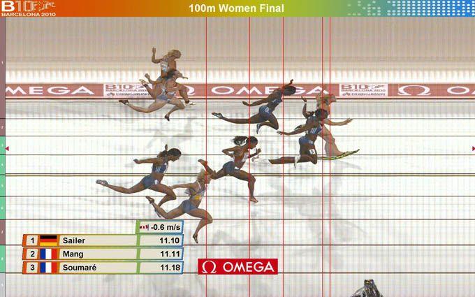 Photo finish de la finale du 100 m féminin des championnats d'Europe d'athlétisme, Barcelone, 29 juillet 2010, 21 h 45. | http://culturevisuelle.org/iconique/la-photo-finish-cette-etrange-image/