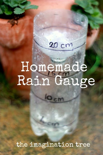 DIY Rain Gauge for kids to measure rainfall!  We need a much larger bottle for the rain here in Brookings!