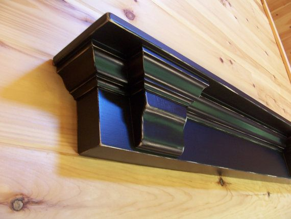 Black Mantel Shelf 4 Ft With Corbels Lightly Distressed