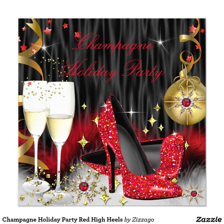 company christmas party invitation templates%0A Champagne Holiday Party Red High Heels     x     Square Paper Invitation  Card