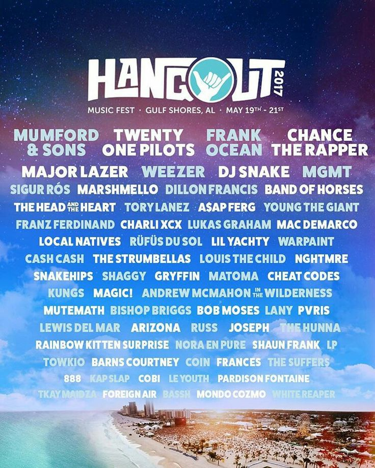 The 2017 line up for Hangout Music Fest in Alabama