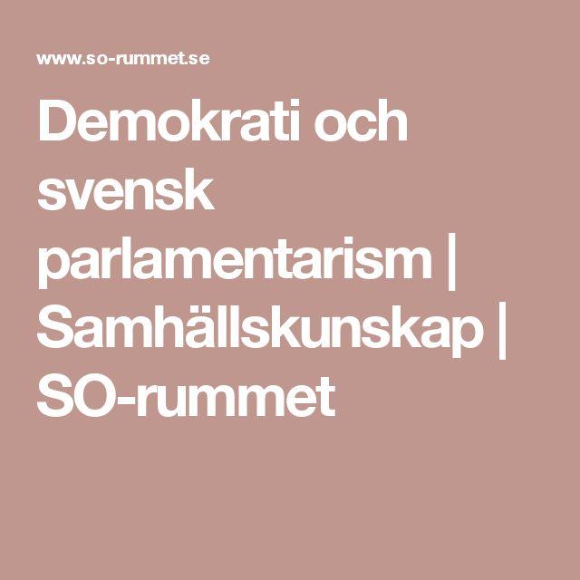 Demokrati och svensk parlamentarism | Samhällskunskap | SO-rummet