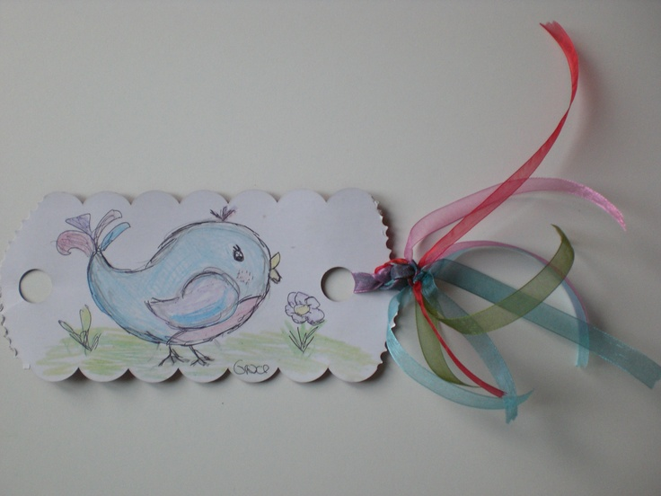 Sweet blue bird bookmark with ribbons diy
