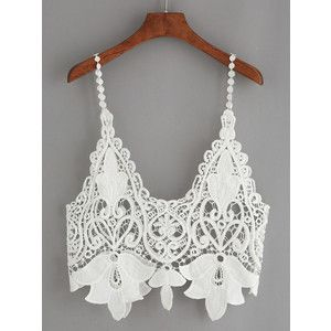 SheIn(sheinside) White Hollow Out Crop Crochet Cami Top