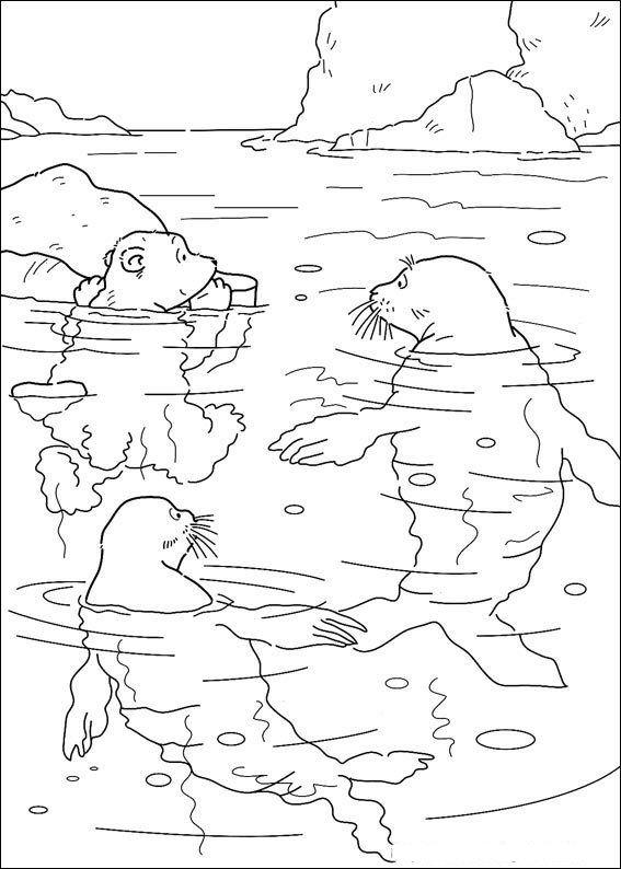 Print Kleine ijsbeer met zeehonden kleurplaat