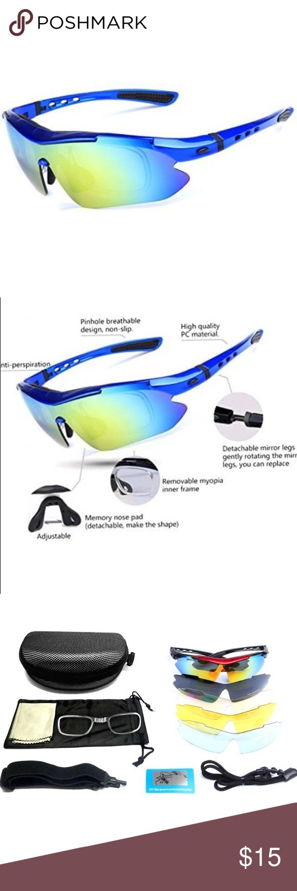 Polarized Sports Sunglasses With 5 Pcs Lenses Polarized Sports Sunglasses With 5 Pcs different Lenses color . Detail in pictures . High quality Accessories Sunglasses