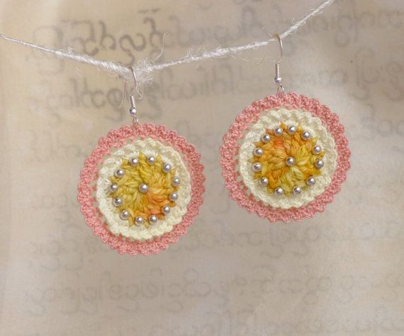 Crochet earrings - sunny yellow, delicate lacy earrings, hand dyed and crochet by burma refugees