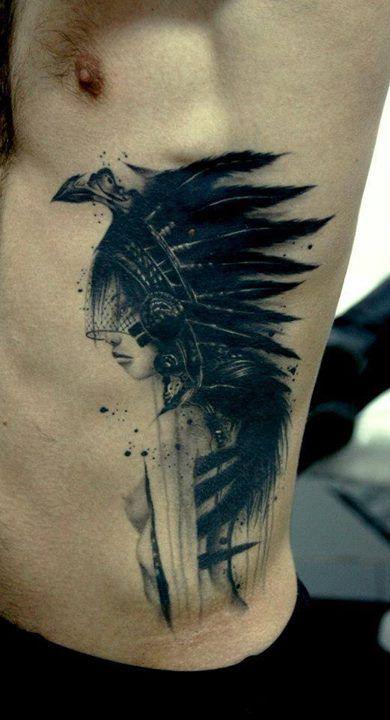 Oriental Native Girl Tattoo By Bacanu Bogdan  Repin