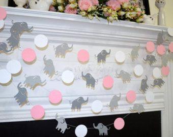 ELEPHANT baby shower garland Pink Elephant by DCBannerDesigns