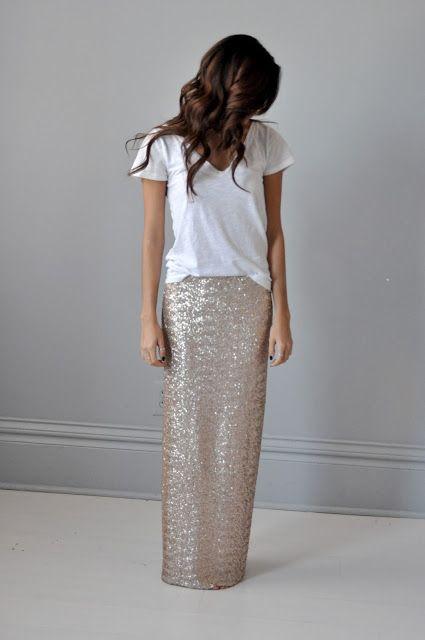 sequin maxi skirt + tee.