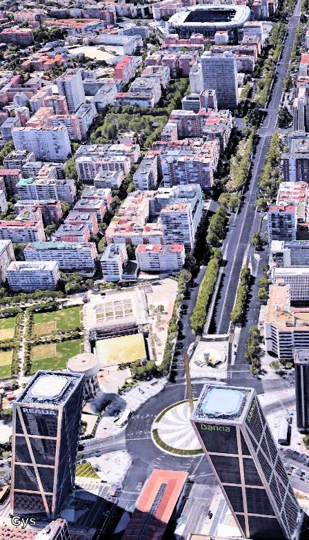 Chamartín district from the air. First term, the Kio Towers, also called Puerta…