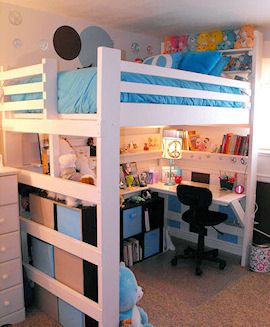 Loft bed for small bedroom. Sturdy, USA made beds, you can pick what features you need.