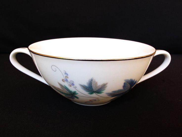 Vintage Noritake  RC (Roayal Ceramics) Doulbe Eared Soup Bowl with Pattern 618 Vintage  and Platinum Trim by ArtVintageCraftShop on Etsy