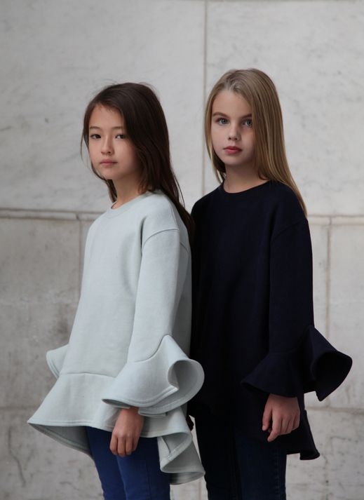 Incredible super soft supple sweatshirt top with ruffled sleeves and ruffled bottom, in midnight blue or ice grey colors. 100% cotton, by Airfish