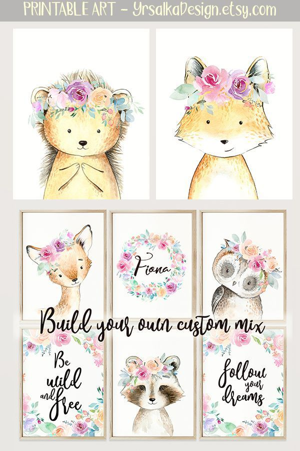 Wild Woodland Animals Nursery Prints For Boho Girl Room Watercolor