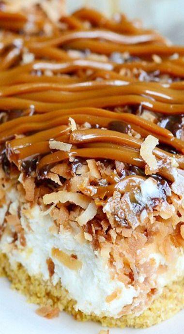 No Bake Samoas Cheesecake Bars