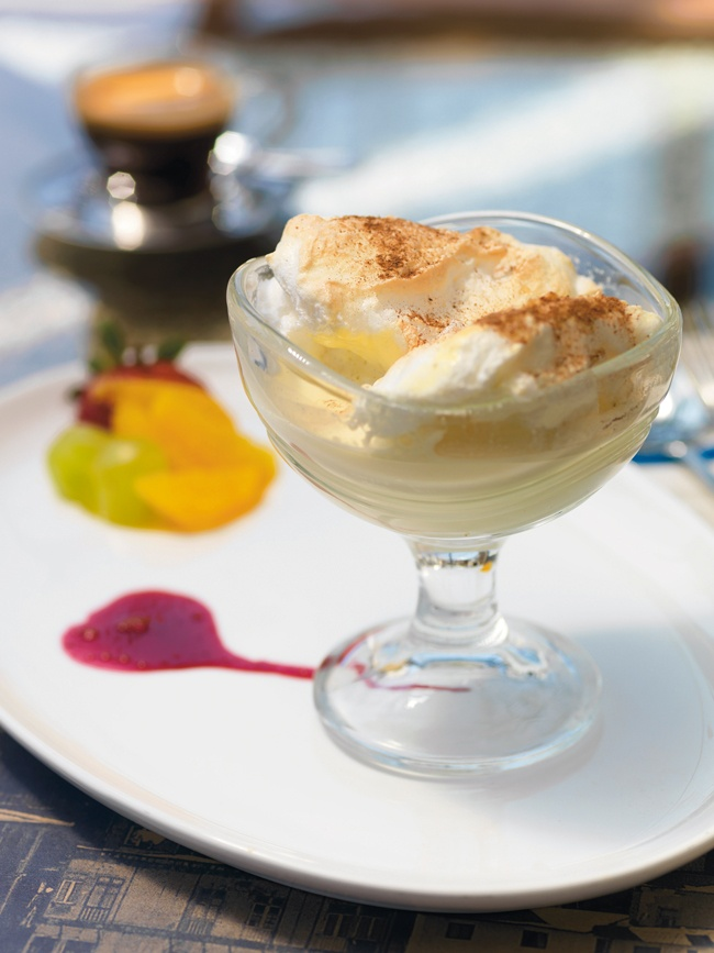 Leche nevada (aka Floating Islands) is a dessert of meringues floating in custard sauce.