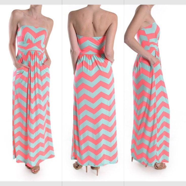 NEW CHEVRON NEON PINK AND MINT MAXI DRESS WITH POCKETS SIZE MEDIUM #Unbranded #Maxi #Casual