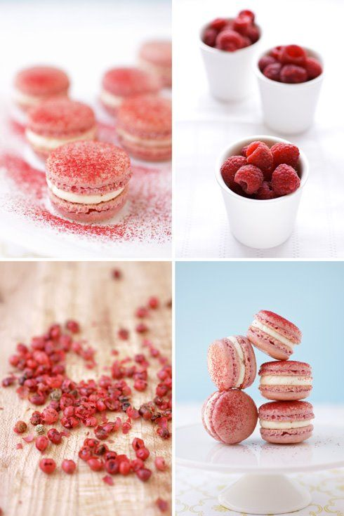 raspberry pink peppercorn macaroons