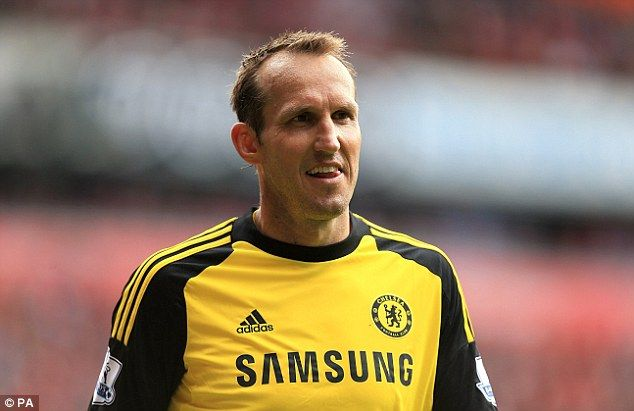 All smiles: Mark Schwarzer continued to deputise for the injury Petr Cech in the Chelsea goal.
